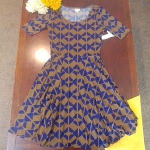 NWT Lularoe Nicole Blue Brown Dress Large